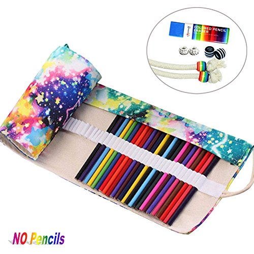 72 Slots Canvas Pencil Wrap Colored Pencils Roll Up Case Pure Handmade Pencil Pouch Travel Drawing Coloring Pencil Roll Holder Organizer (Colorful)