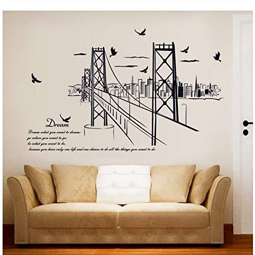MINGKK - Adhesivo de pared San Francisco Bridge Silhouette cita estudio salón extraíble respetuoso con el medio ambiente adhesivo de pared decoración arte pared póster