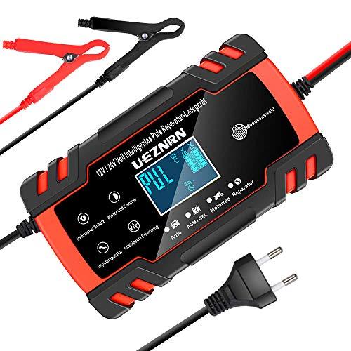 NWOUIIAY Autobatterie Ladeger/ät 6A//12V Batterieladeger/ät Auto Vollautomatisches Ladeger/ät mit LCD-Bildschirm Batterieladeger/ät f/ür Auto und Motorrad