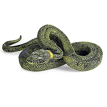 Vocoliday 1Pcs Green Fake Snake Realistic Snake Toy Scary Snake Toys for Halloween Prank Props Halloween Party Scary Garden Props
