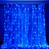 Qunlight Star 304 LED 9.8ftx9.8ft 30V 8 Modes with Memory Window Curtain String Lights Wedding Party Home Garden Bedroom Outdoor Indoor Wall Decorations (Blue)