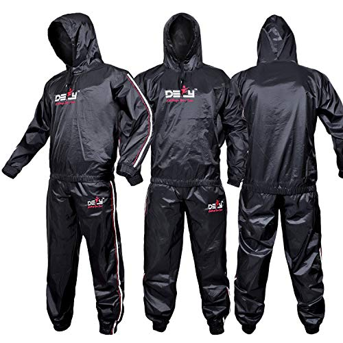 DEFY Heavy Duty Sweat Suit Sauna Exercise Gym Suit Fitness, Weight Loss, Anti-Rip, with Hood (XL)