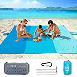 HIHOHO Sand Proof Beach Blanket, Large 82' X79' Family Nylon Beach Mat for 4-7 Adults Lightweight Outdoor Water Resistant Beach Accessories Portable Mat for Travel Camping Hiking (EVA Sports Package)