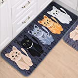 Gydthdeix Rectangle Cartoon Lovely Cats Kitty Pattern Mat Rug for Stairway Toilet Floor Bedroom Living Room Bathroom Kitchen Home Decoration Area