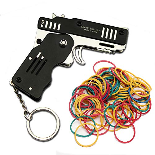 Zhou-long Pistola de goma Mini Metal plegable 6-Shot con llavero y banda de goma 100+