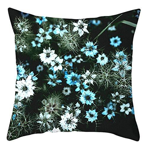 KnBoB Funda Almohada Poliéster Plantas Flores Pequeñas 40 x 40 cm Blanco Azul Verde Estilo 16