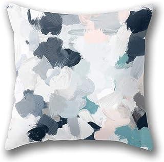 Lfff Azul Marino Indigo Blue Blush Pink Grey Mint Abstract Funda de Almohada Funda de Almohada de Tiro estándar