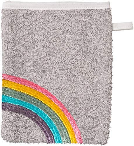 Smithy Waschlappen aus 100% Baumwolle - saugstarker und weicher Öko-Tex-100 Waschhandschuh für Kinder in grau mit Regenbogen