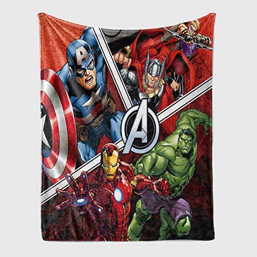 YZDM Couverture Polaire Marvel Avengers, Hulk, Spiderman, Thor, Iron Man Microfibre Couverture pour Enfants, pour La Maison Unisexe, Canapé-lit Canapé Salon (M,150 * 200)