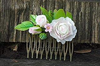 roses flower comb white bride headband bridesmaids wedding stuff pink green white polymer clay rustic com