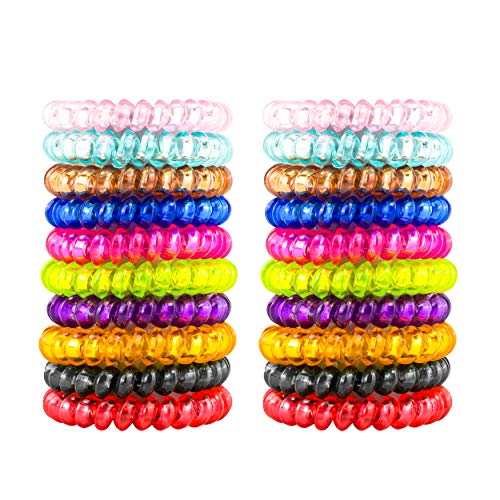79STYLE 50pcs Spiral Coil Hair Ties No Crease Phone Cord Hair Ties Ponytail Holder Clear Hair Coil Scrunchies Colorful Hair Tie Spiral Coils in Bulk For Women Girls Thick Thin Hair (Crystal10 Colors -Large Size)