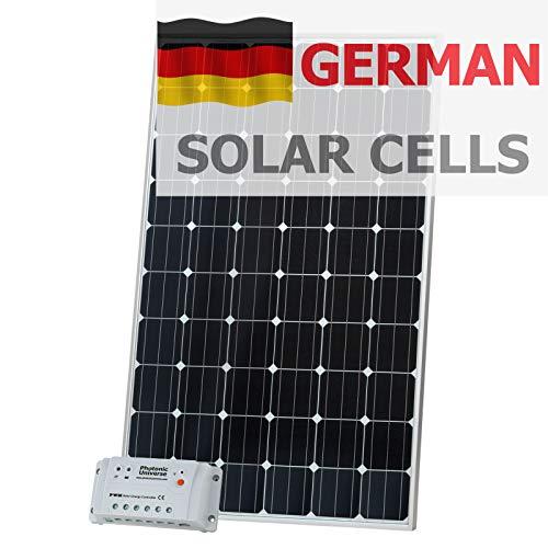 Kit de Carga Solar de 320 W 12 V Photonic Universe Hecho de Celdas solares alemanas con Controlador de 20 A y Cable de 5 m para batería de 12 V o Banco de batería