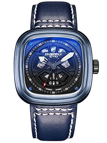 Alienwork Reloj Mecánico Automático Relojes Automáticos Hombre Piel de Vaca Azul Analógicos Negro Impermeable Esqueleto