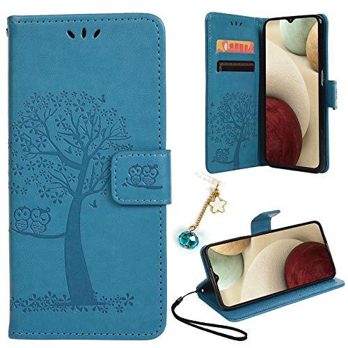 Yiscase Funda para Samsung Galaxy A12, funda para Galaxy A12, funda de piel con tapa y función atril, color azul
