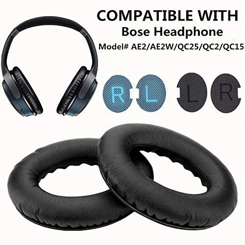WADEO Ersatz Ohrpolster für Bose Around-Ear 2 (AE2), Around-Ear 2 (AE2w) QuietComfort QC25/QC2/QC15 Leder Kopfhörer Austauschkissen Schwarz