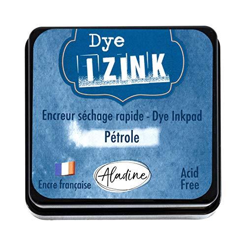 Aladine Izink Dye Petróleo – Tinta de Secado rápido para Sellos y Plantillas – Scrapbooking y Carteria Creativa – Tinta Francesa – Talla M – 5 x 5 cm – Color Azul petróleo