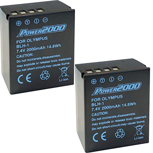Power2000 Fully Decoded 2 Pack of BL-H1 Batteries for Olympus OM-D E-M1 Mark II, OM-D E-M1 Mark III, OM-D E-M1X, BCH-1, HLD-9 Cameras