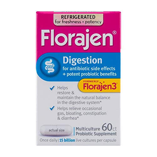 Florajen3 Digestion High Potency Refrigerated Probiotics   Restores Balance in Digestive System   for Antibiotic Side Effects   60 Capsules