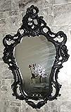 Espejo de pared ovalado, negro mate, barroco, retro, gótico, 50 x 76 cm, 3039