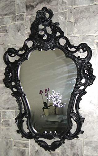 Espejo de pared ovalado negro mate barroco antiguo retro gótico 50 x 76 baño espejo 3039