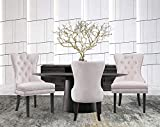 Iconic Home Diana Dining Side Accent Chair Button Tufted Velvet Upholstery Nail Head Trim Tapered Espresso Wood Legs, Modern Transitional, Beige, Set of 2