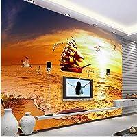 Ljjlm カスタマイズされた大規模な壁画Yifanfengshunゴールデンシービューテレビの背景壁紙Papelde Parede Para Quarto-260X180Cm