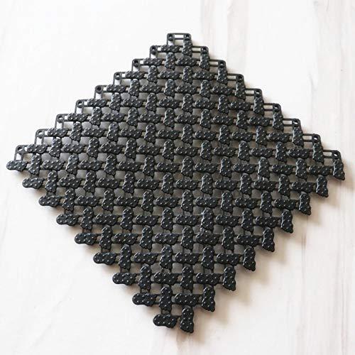 KEAINIDENI wc-mat 2019 Nieuwe PVC Gratis Spline Anti-Skid Waterdichte mat Badkamer Anti-Skid mat Douche Kamer Anti Skid mat Set Badmat Decoratie 25X25X0.8cm Zwart