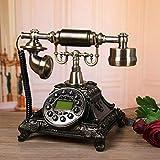 Wohnzimmer Antikes Telefon Europäisches Haus Schlafzimmer Retro Festnetztelefon Weiß Mode Metall Wählscheibe Festnetz Mechanisches Klingeln Freisprechen A + (Farbe: Silber Schwarz, Größe: TA