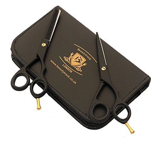 BeautyTrack Professional Hair-dressing Ciseaux et cheveux Effiler Ciseaux Cisailles Set - Acier Inoxydable - gratuit Ciseaux Bague pour salon de coiffure, Barber et personnelles - doigt Rest- Noir