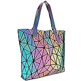 Tikea Borsa da donna - Grande borsa geometrica luminosa olografica moda Tote Borsa per la spesa, Fancy Shoulder Totes per ragazze signore, riflettente