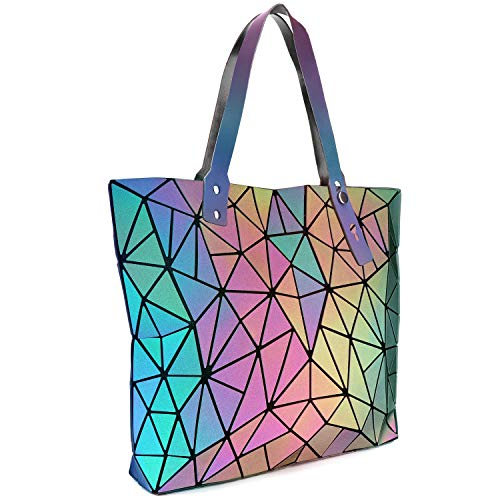 Tikea Bolsa Geométrica Luminosa Holográfica para Mujer, Bolso de Mano en Cuero Sintético de Moda, Bolsa Shopper Efecto Reflectante