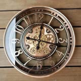 INFINITY TIME 21Inch Real Moving Gear Wall Clock Vintage Industrial Steampunk Cog Oversized Metal Wall Clock with Arabic Numbers, Antique Bronze Copper