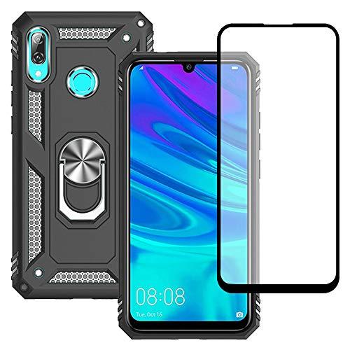 Yiakeng Funda HuaweiPSmart2019 New Edition Carcasa con Protector Pantalla Cristal Templado, Silicona Armor Case con Kickstand para HuaweiPSmart2019 (Negro)