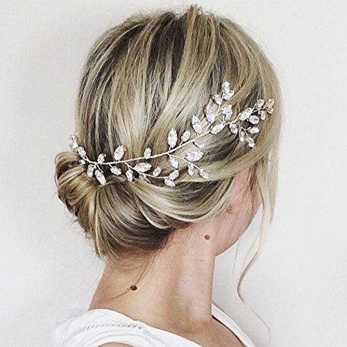 Aukmla Fermaglio per capelli a rametto, con cristalli Swarovski, per matrimonio, scintillante ghirlanda per sposa e damigelle d'onore