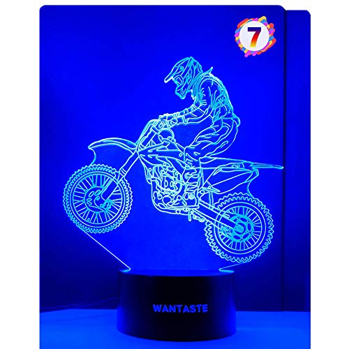 WANTASTE Motocross 3D Lamp Gifts for Boys Girls Room, Dirt Bike Decor Toys Night Light Bedside Gifts for Kids Baby, 7 Colors Changing Nightlight with Battery Backup and Smart Control