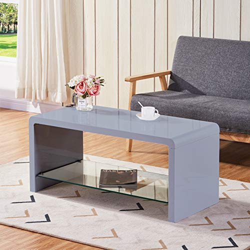 GOLDFAN Grey High Gloss Coffee Table with Glass Storage Shelf Modern Living Room Rectangle Centre Table Side Table for Home Office Furniture