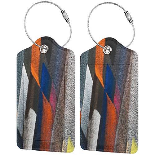 FULIYA Etiquetas para equipaje de viaje, etiquetas de identificación para tarjetas de visita, juego de 2, rayas, coloridas, lunares, desiguales