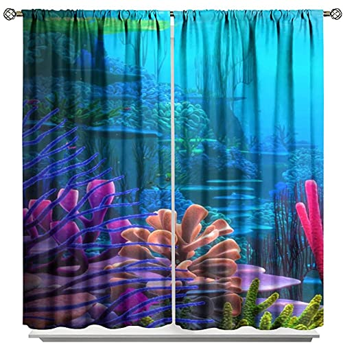 FucyBu - Tenda oceanica, con asta di corallo, per camera da letto e cucina, 214 x 214 cm
