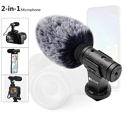 Microfono per telefono e microfono video, microfono per fotocamera super cardioide con parabrezza Deadcat e foro per monitor per auricolari Funziona con iPhone/Andoid/Smartphone/Fotocamera