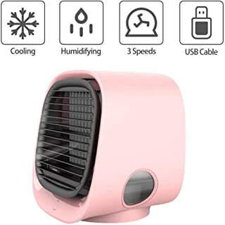 Mini Enfriador,Enfriador De Aire Portátil,Ventilador De con 3 Velocidades De Viento Y Luz Led De 7 Colores, Adecuado para La Mesita De Noche del Dormitorio De La Oficina-Rosado