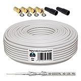 HB-DIGITAL Cable Coaxial de HB Digital Set SAT de cable con conectores F dorados y protección Boquillas, cable coaxial para recepción por satélite, nivel de protección 130dB, mejor recepción para HDTV, 3d, FullHD, Ultra HD, HD 4K2K, UHDTV