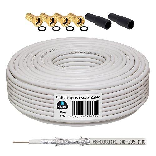 HB-DIGITAL - Cable coaxial (10 m, 135 HQ, incluye 4 conectores F dorados y 2...