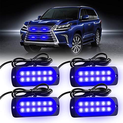 KaiDengZhe 4X12 LED Luces estroboscópicas de Emergencia de Advertencia 12-24 V Precaución Luz Intermitente Barra de Luz de Baliza Universal para Automóvil Camión Van Vehículo Todo Terreno ATV(