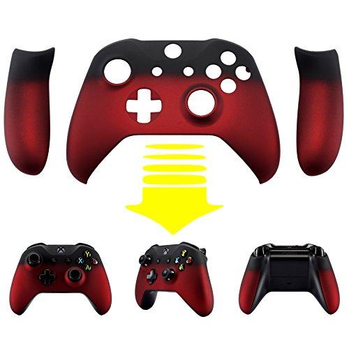 eXtremeRate Hülle Case Cover Matt Gehäuse Schutzhülle Schale Faceplates mit 2 Griff Seitenteilen für Xbox One S/Xbox One X Controller(Schatten Rot)