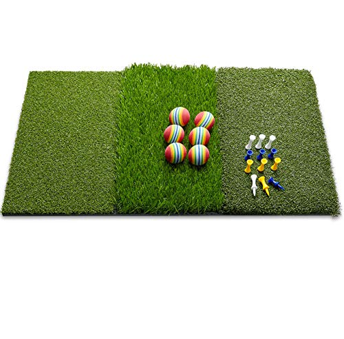 wosofe Golf Mat Chipping Hitting 25' x16' 3in1 Foldable - Practice Turf Backyard or Indoor Portable Premium Quality Realistic Multi Length Grass + 12 Extra Tees