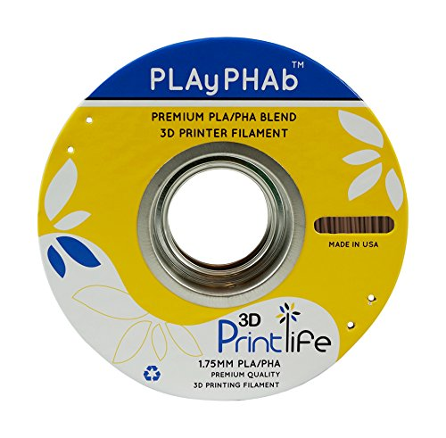 3D Printlife PLAyPHAb 1,75 mm chocolade PLA/PHA mengsel 3D-printerfilament, maatvastheid <+/- 0,05 mm, chocolade