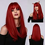 Long Red Synthetic Hair Wigs with Bangs, Fashion Straight Full Wig for Women Girls, Synthetic Fiber Wig Suitable for Cosplay Daily Party