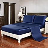 HollyHOME Silky Soft Luxury 4 Piece Deep Pocket Queen Satin Sheet Set, Free Fitted Sheet Straps Included, Blue