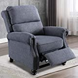 ANJ HOME Push Back Recliner Chairs for Living Room Bedroom Padded Seating Wingback Reclining Chair with Rivets (Gray)