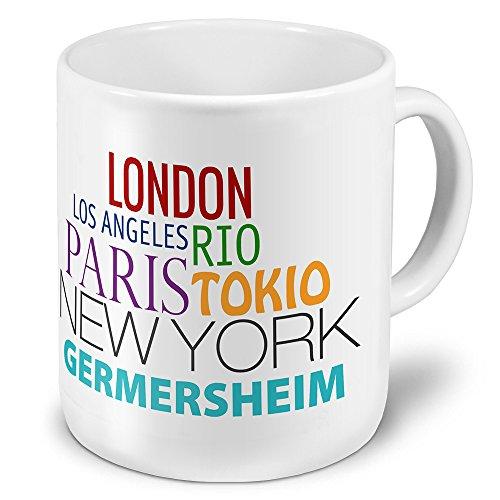 XXL Jumbo-Städtetasse Germersheim - XXL Jumbotasse mit Design Famous Cities of the World - Städte-Tasse, Städte-Krug, Becher, Mug